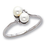 Polished .02ct. Diamond & Cultured Pearl Ring Mounting 14k White Gold X9757