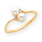 4mm Cultured Pearl Diamond ring 14k Gold X9758PL/AA