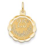 25th Anniversary Disc Charm 14k Gold XAC13