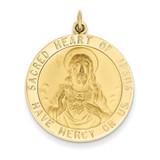 Sacred Heart of Jesus Medal Pendant 14k Gold XAC221