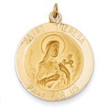 Saint Theresa Medal Pendant 14k Gold XAC225