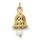 Wedding Bell with Cultured Pearl Charm 14k Gold XAC278