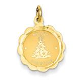 Merry Christmas Disc Charm 14k Gold XAC34