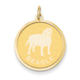 Beagle Disc Charm 14k Gold XAC360