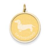 Dachshund Disc Charm 14k Gold XAC367