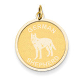 German Shepherd Disc Charm 14k Gold XAC370