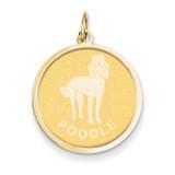 Poodle Disc Charm 14k Gold XAC376