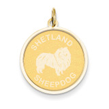 Shetland Sheepdog Disc Charm 14k Gold XAC381