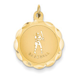Baseball Disc Charm 14k Gold XAC406
