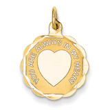 You Are Always In My Heart Charm 14k Gold XAC487