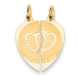 Break-apart I Love You Charm 14k Gold XAC497