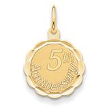 Happy 5th Anniversary Charm 14k Gold XAC577