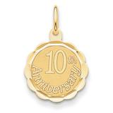 Happy 10th Anniversary Charm 14k Gold XAC578