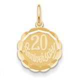 Happy 20th Anniversary Charm 14k Gold XAC579