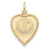 Happy 10th Anniversary Charm 14k Gold XAC581