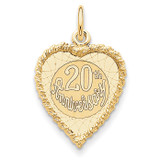 Happy 20th Anniversary Charm 14k Gold XAC582