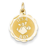 Its a Boy Scalloped Disc Charm 14k Gold Polished XAC6