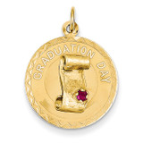 Graduation Day Charm with Red Synthetic Stone Charm 14k Gold XAC694