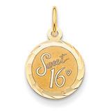 Sweet Sixteen Disc Charm 14k Gold XAC745