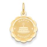 Satin Engraveable Happy Birthday Charm 14k Gold Polished XAC758