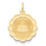 Happy Birthday Charm 14k Gold XAC762