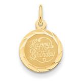 Happy Birthday Disc Charm 14k Gold XAC8