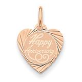 Happy Anniversary Heart Disc Charm 14k Rose Gold XAC822