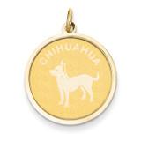 Chihuahua Disc Charm 14k Gold XAC866