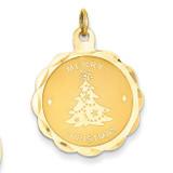 Merry Christmas Disc Charm 14k Gold XAC87