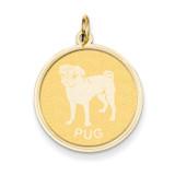Pug Disc Charm 14k Gold XAC874