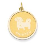 Shih Tzu Disc Charm 14k Gold XAC878