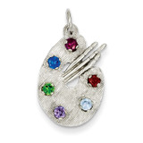 Artist Palette with Synthetic Diamond Stones Charm 14k White Gold XAC933