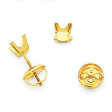 3.25mm Princess-cut Stud Earring Mountings 14k Gold XAP3