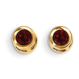 4mm Oval Bezel January/Garnet Post Earrings 14k Gold XBE1