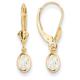 6x4 Oval Bezel April/White Zircon Leverback Earrings 14k Gold XBE100