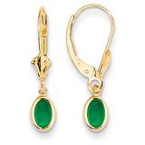 6x4 Oval Bezel May/Emerald Leverback Earrings 14k Gold XBE101