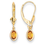6x4 Oval Bezel November/Citrine Leverback Earrings 14k Gold XBE107
