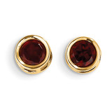 5mm Bezel Garnet Stud Earrings 14k Gold XBE144