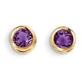 5mm Bezel Amethyst Stud Earrings 14k Gold XBE145