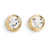 5mm Bezel White Topaz Stud Earrings 14k Gold XBE147