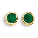 5mm Bezel Emerald Stud Earrings 14k Gold XBE148