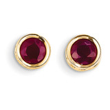 5mm Bezel Ruby Stud Earrings 14k Gold XBE150