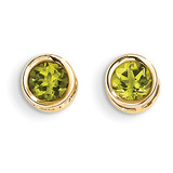 5mm Bezel Peridot Stud Earrings 14k Gold XBE151