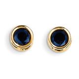 5mm Bezel Sapphire Stud Earrings 14k Gold XBE152