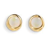 5mm Bezel Opal Stud Earrings 14k Gold XBE153