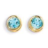 5mm Bezel Blue Topaz Stud Earrings 14k Gold XBE155
