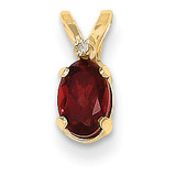 Diamond & Garnet Birthstone Pendant 14k Gold XBE156