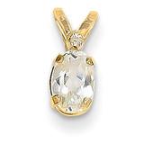 Diamond & White Topaz Birthstone Pendant 14k Gold XBE159