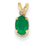 Diamond & Emerald Birthstone Pendant 14k Gold XBE160