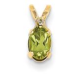 Diamond & Peridot Birthstone Pendant 14k Gold XBE163